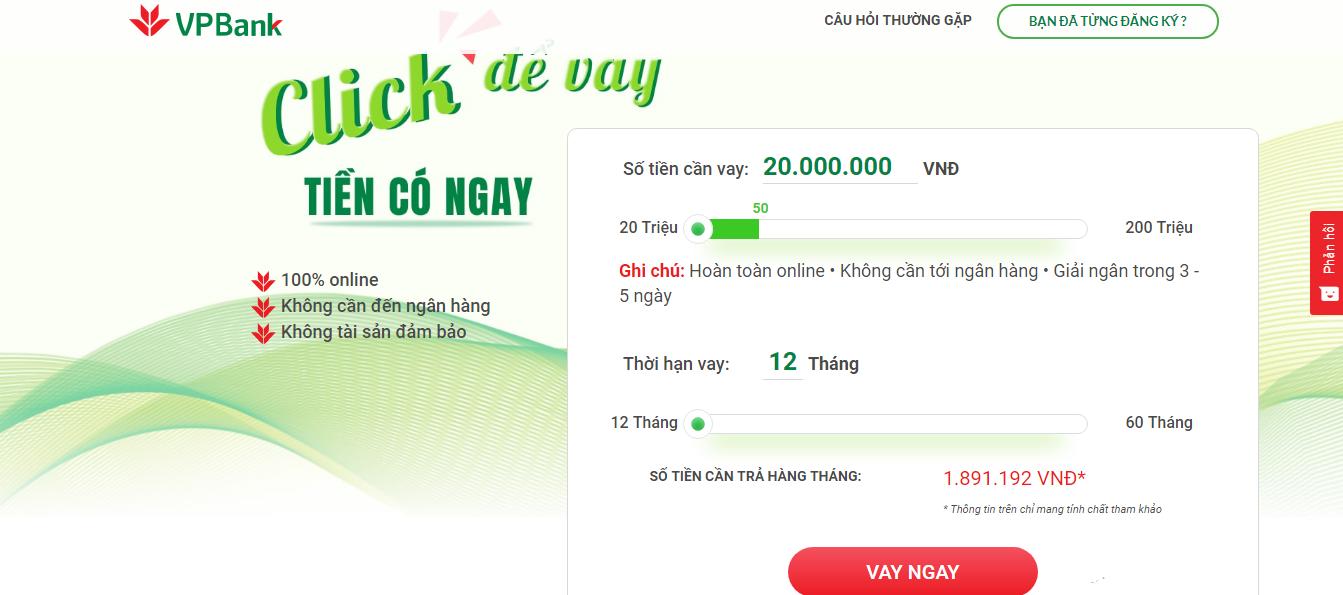 Hướng dẫn vay tiền online VPBank trong vòng 1 phút